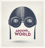 Pilot helmet and goggles, around the world. Illustration contains transparency and blending effects, eps 10