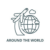 Around the world vector line icon, outline concept, linear sign