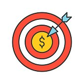 arrow and dartboard, goal for financial success concept, bank and financial related icon, filled outline editable stroke