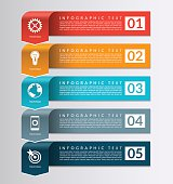 Arrow banner for business infographics. 5 steps, parts, options vector design template