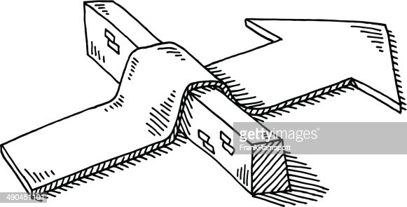 Arrow Barrier Overcoming Obstacle Drawing Vector Art