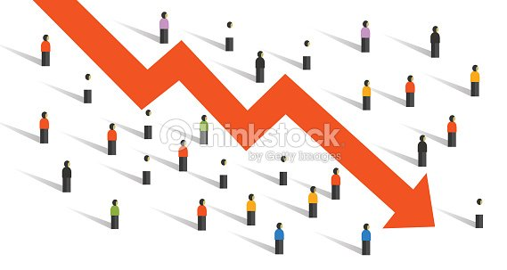 Arrow down crisis economy people crowd around people falling chart economy investment