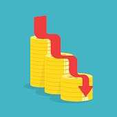 Arrow down with gold coins, idea concept Vector illustration.