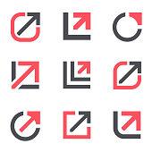 Arrow growth design template. Vector icon set