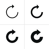 4 arrow refresh, reload, rotation, loop sign black icon simple pictogram on white background. Volume 05