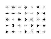 Arrow sign vector icons set, simple flat pictogram