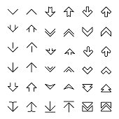 Arrow up and down scrolling vector buttons. Down up arrow, icon up and down, pointer up and down illustration