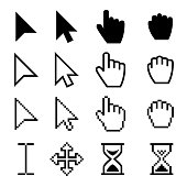 Arrow web cursors, digital hand pointers vector black pictograms. Arrow cursor pixel digital, web pointing and hourglass illustration