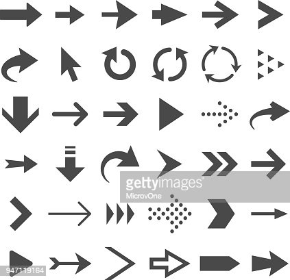 Arrow web icons isolated, cursor arrows, download and next page navigation buttons vector set : Vector Art