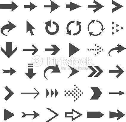 Arrow web icons isolated, cursor arrows, download and next page navigation buttons vector set : stock vector