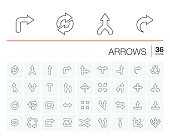 Vector thin line icons set and graphic design elements. Illustration with arrows, direction and move outline flat symbols. Turn left, right, switch, undo linear pictogram