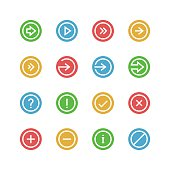 Arrows and symbols icon set - vector minimalist. Different symbols on the colored background.