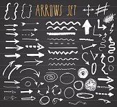 Arrows, dividers and borders, elements hand drawn set vector illustration on chalkboard background