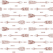 Seamless pattern with tribal arrows. Ethnic, boho style background