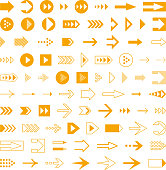 Arrows set, different styles cursors. User interface symbols design.