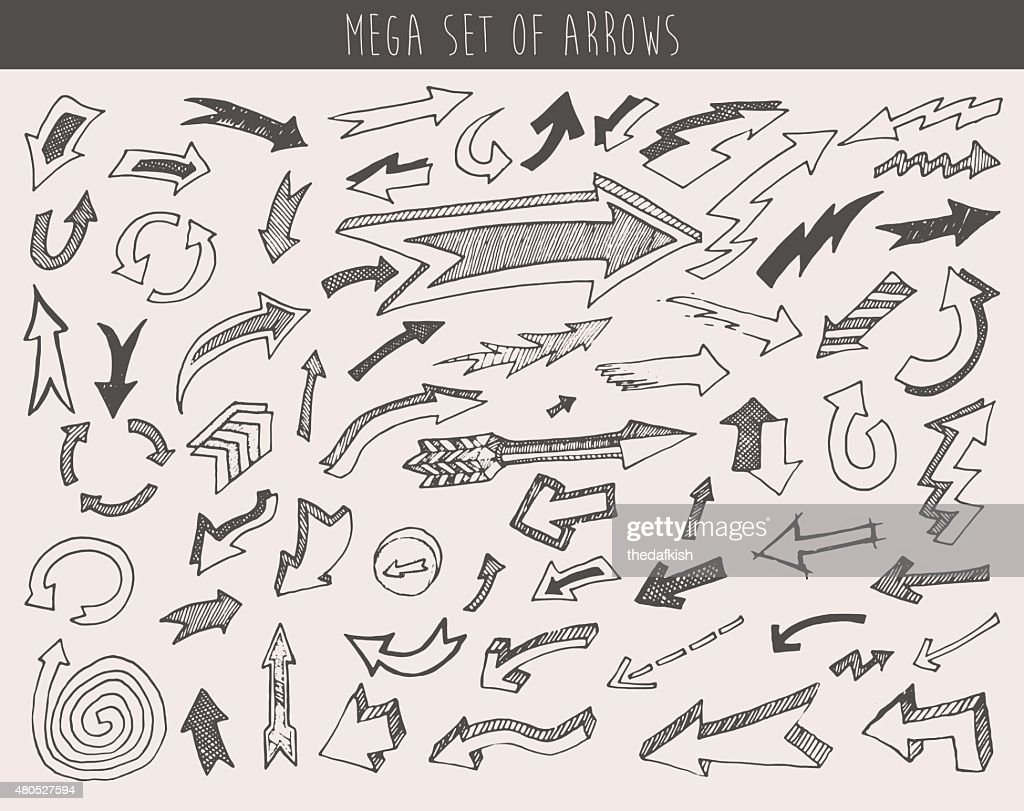 Arrows Set Vector  Hand Drawn Sketched Design : Vectorkunst