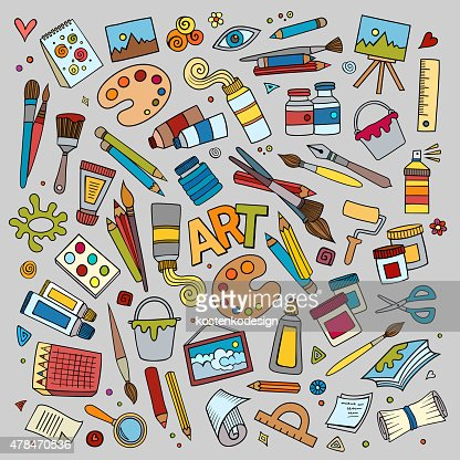 art and craft vector symbols and objects vector art