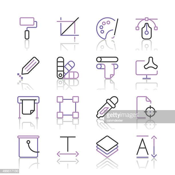 Art and Design Icons set 1 | Purple Line series