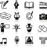 Vector Art Culture and creativity black & white set