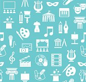 Vector background with images of objects of culture, leisure and entertainment. White flat icons on a light blue background.