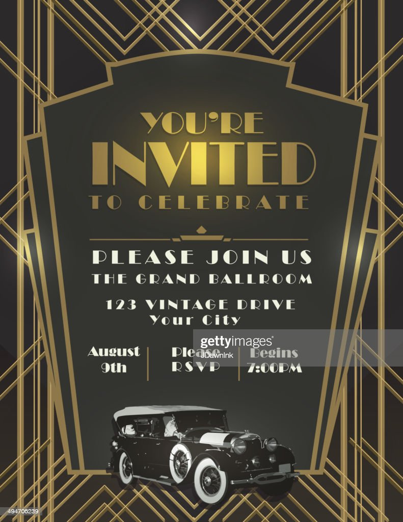 Art deco style vintage invitation design template vector art getty images - Style vintage deco ...