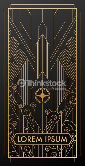 art deco city gold invitation vector art thinkstock