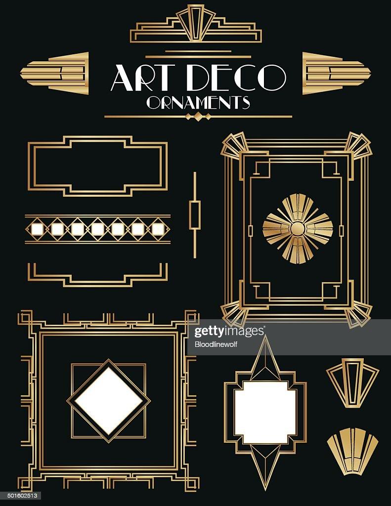 art deco frames and ornament set vector art getty images. Black Bedroom Furniture Sets. Home Design Ideas
