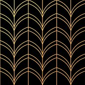 Art Deco Golden palmette seamless vector pattern illustration