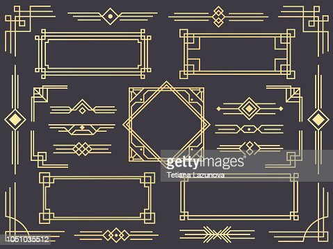 Art deco line border. Modern arabic gold frames, decorative lines borders and geometric golden label frame vector design elements : stock vector