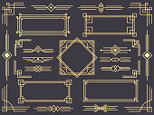 Art deco line border. Modern arabic gold frames, decorative lines borders and geometric golden label frame. Victorian vintage old antique elegant vector design isolated icons elements set