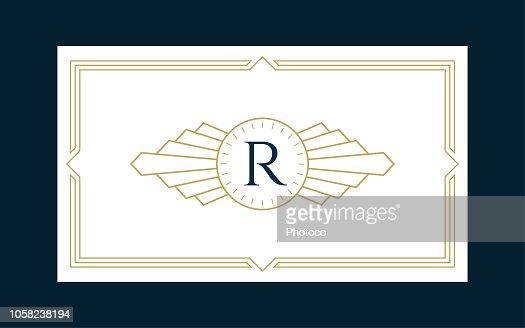 Art Deco Monogram Business & Invitation Card : stock vector