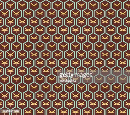 Art Deco Seamless Vintage Wallpaper Pattern With Copper Color Vector Art