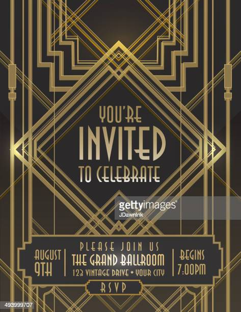 Art Deco style vintage invitation design template