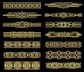 Art deco vector line borders set in 1920s graphic style. Vintage border pattern, illustration of frame golden baroque