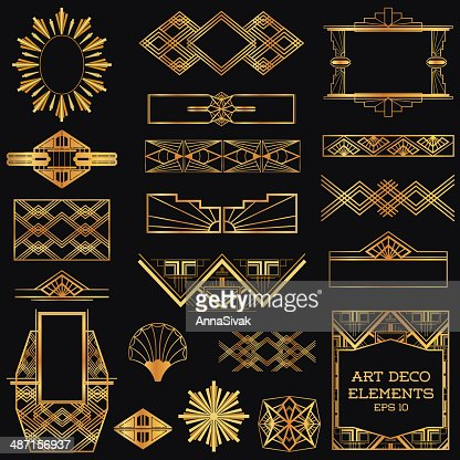 art deco vintage frames and design elements vector art