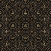 Art deco wallpaper seamless pattern retro style dark color vector illustration.