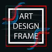 Vector abstract banner in bright colors. Art frame white on a black background. Frame with colored stripes.