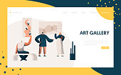 Art Gallery Exhibition Presentation Landing Page. People Character Artist Represent Modern Painting Frame Artwork Concept for Website or Web Page. Flat Cartoon Vector Illustration
