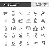 30 thin line icons associated with art and gallery with symbols such as historical object, artworks and museum related objects are included in this set. 48x48 pixel perfect vector icon with editable s