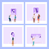 Gallery of modern art with visitors. People looking at paintings at exhibition. Paintings hanging on wall in exhibition or museum room. Flat style vector illustration.