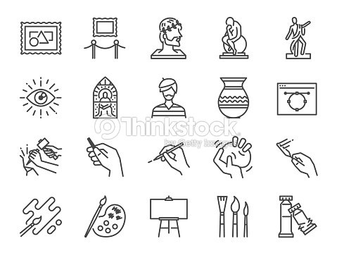 Art icon set. Included the icons as artist, color, paint, sculpture, statue, image, old master, artistic and more. : arte vetorial