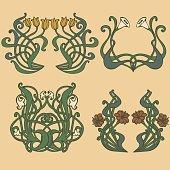 vintage style labels on different topics for decoration and designArt nouveau and art deco floral ornaments, modern and jugendstil vintage elements