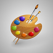 Art palette with brushes - eps10 vector