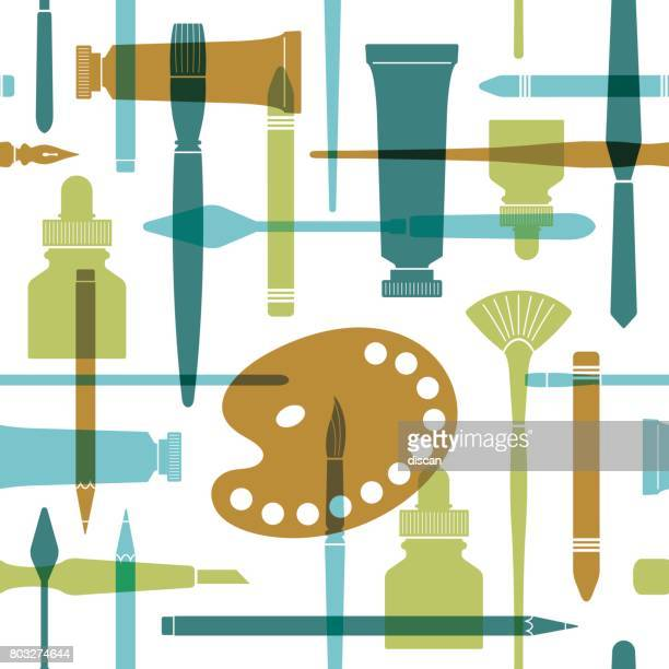 Art supplies seamless pattern in flat style.