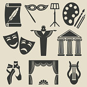 art theater icons set - vector illustration. eps 8
