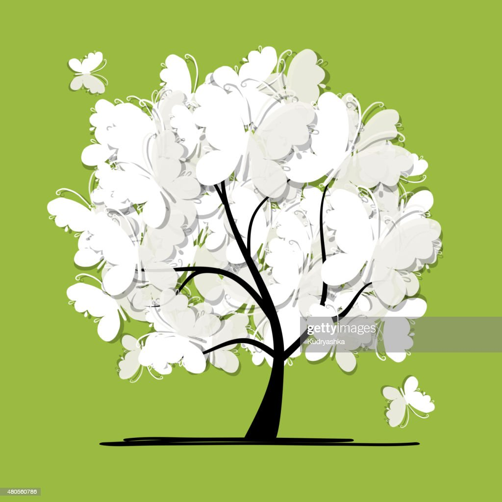 Art tree with butterflies for your design : Vector Art