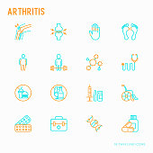 Arthritis thin line icons set of symptoms and treatments: pain in joints, obesity, fast food, alcohol, medicine, wheelchair. Vector illustration.