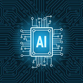 Artificial Intelligence Chip On Circuit Motherboard Background Modern Technology Concept Vector Illustration
