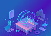 Artificial intelligence concept with electric brain and neural network, isometric 3d illustration with smartphone, laptop, mobile gadget, modern data storage banner, landing page background