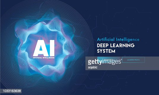 Artificial Intelligence (AI) landing page design, hi-tech blockchain network on neural network background. : Vector Art